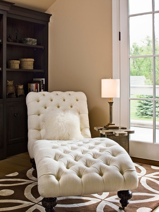 White Leather Chaise Lounge Indoor