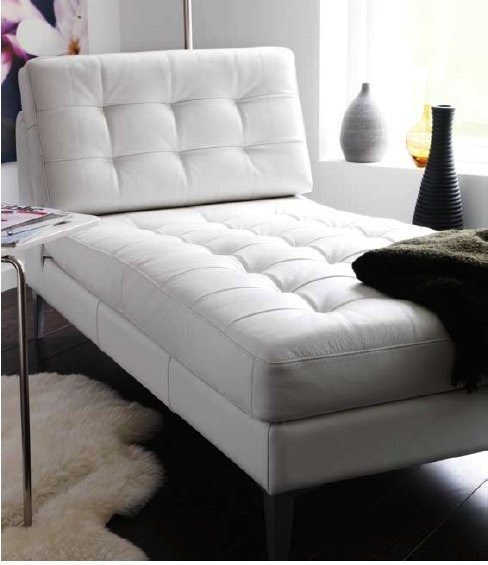 White leather chaise