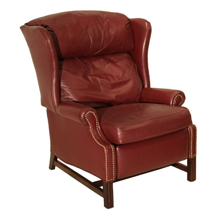 Charmant Wing Back Leather Recliner 1970 Marsala