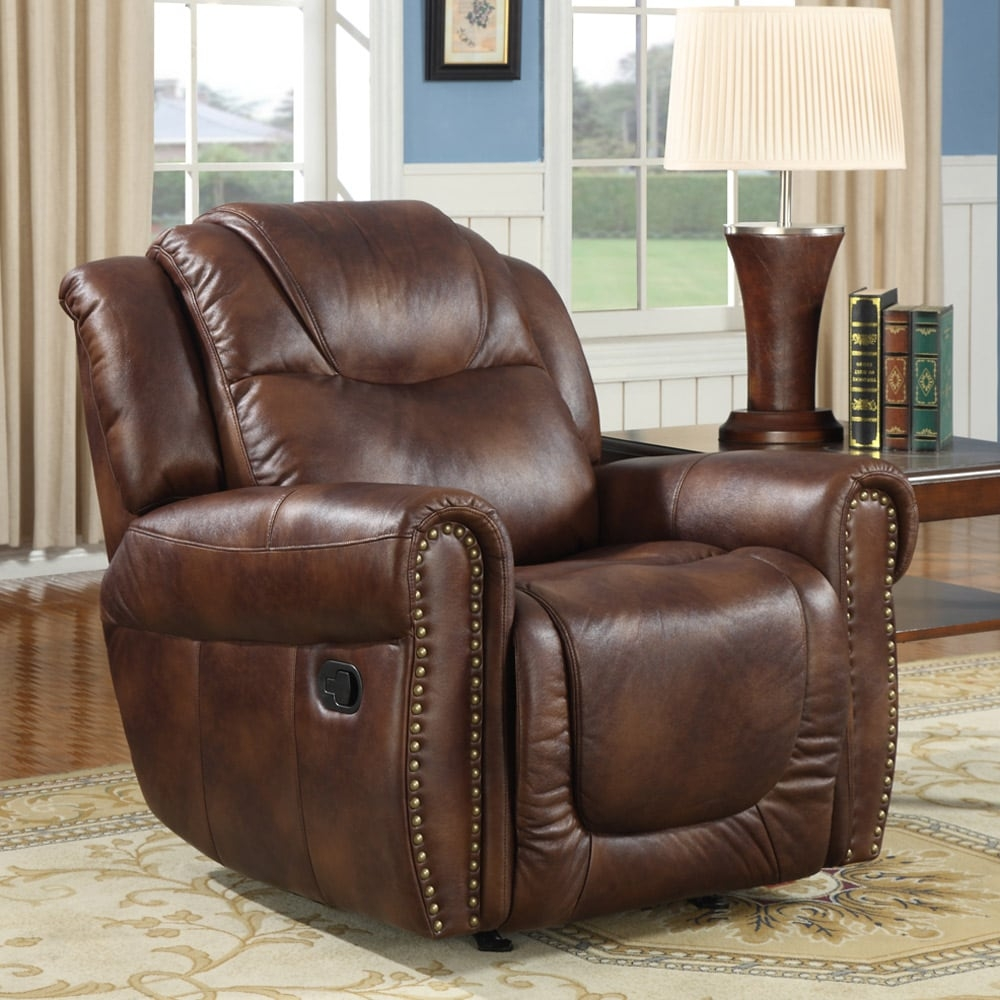 Charmant Witiker Brown Faux Leather Rocker Reclining Chair 2