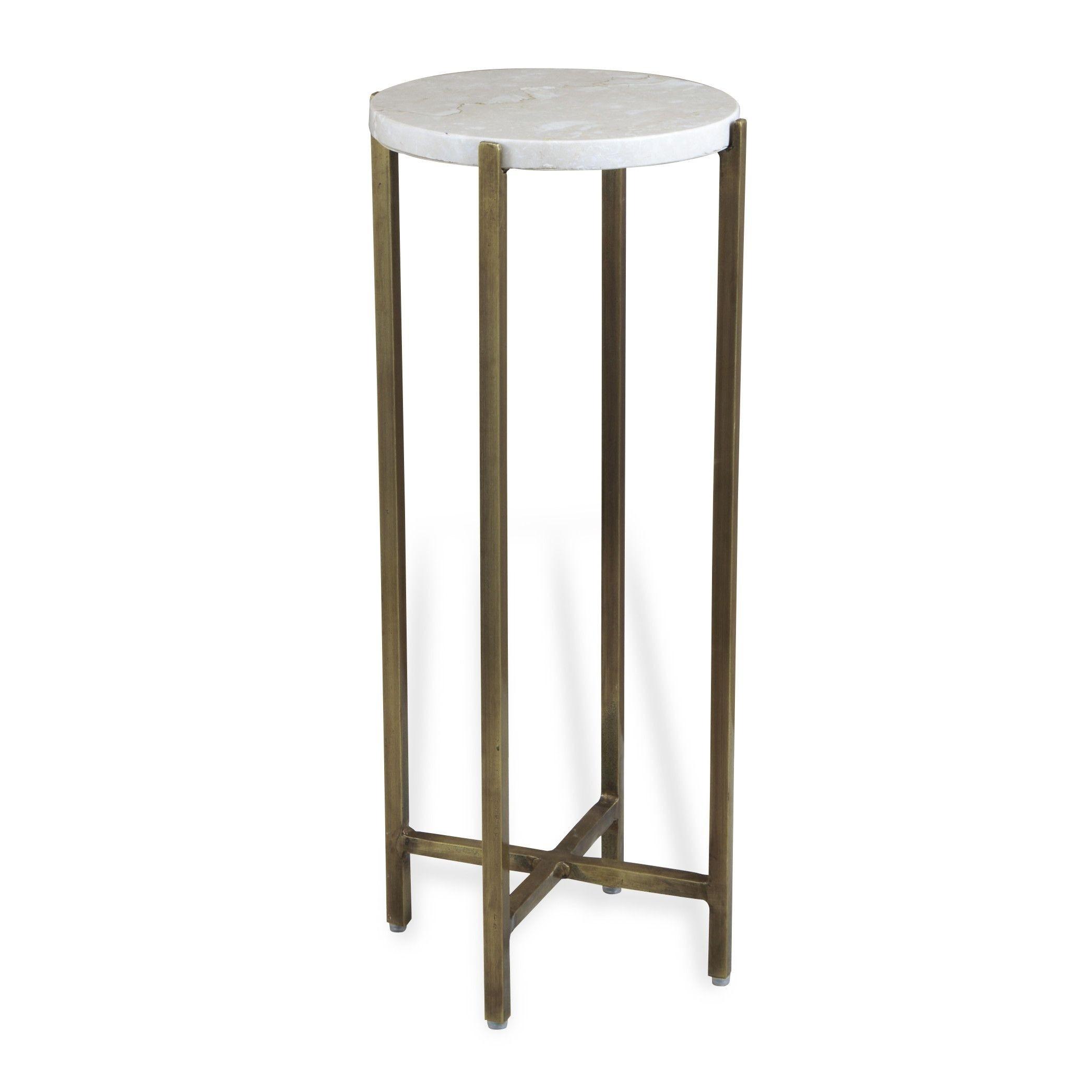 Zahara Round Ivory Marble Side Table