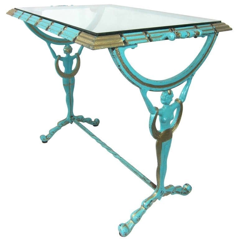 1920 30s Art Deco Flapper Girl Turquoise Gold Metal Glass Table