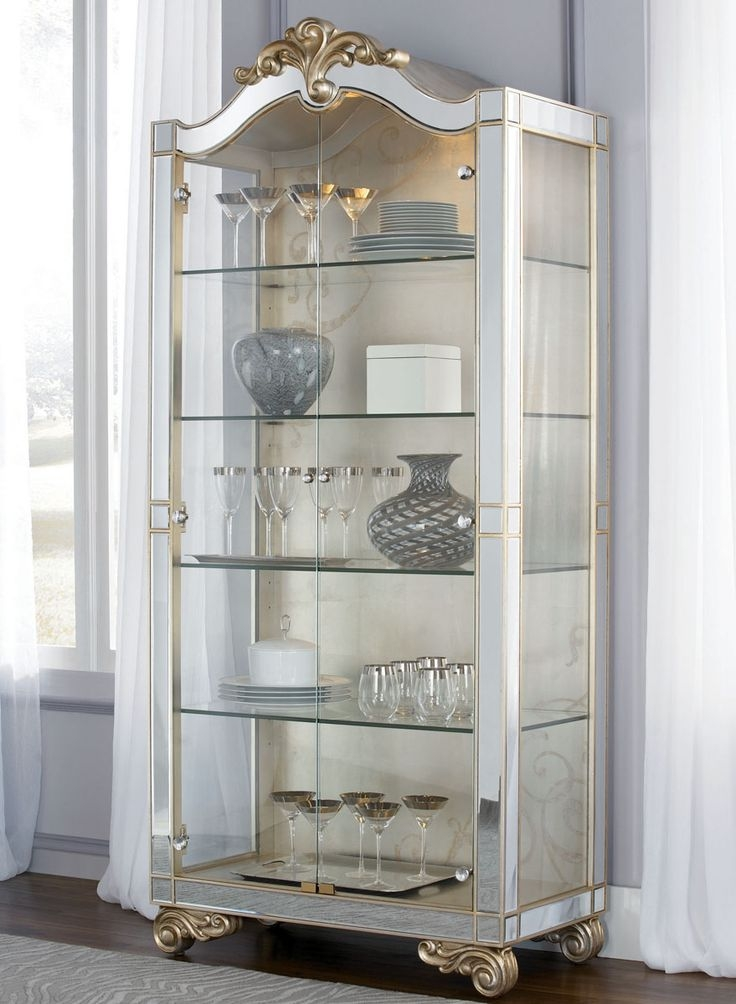 American Drew Jessica Mcclintock Curio Cabinet In Silver Traditional Buffets And Sideboards