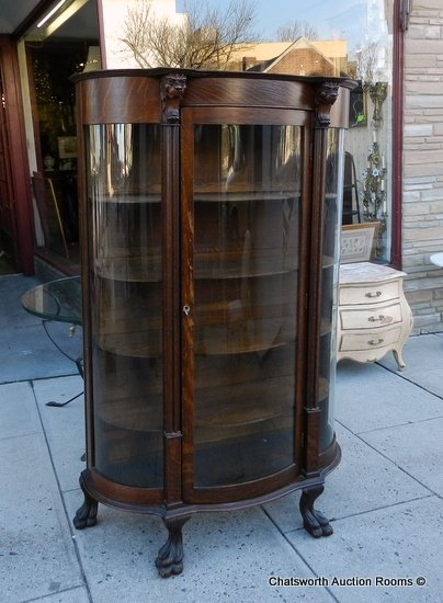 Antique Curio Cabinet Curved Glass Antique Victorian Keystone Quartered Oak