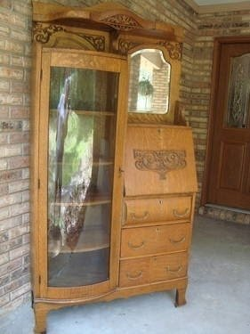 Exceptional Antique Curio Cabinets 1920s Antique Oak Side By Side Secretary