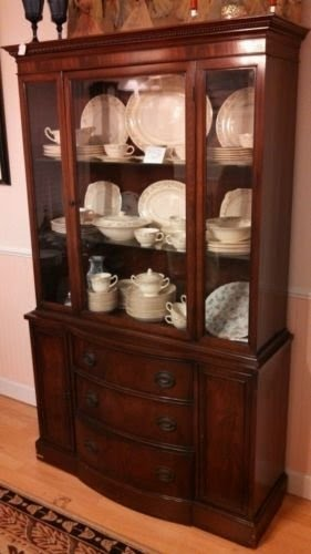 Antique Mahogany Curio China Cabinet