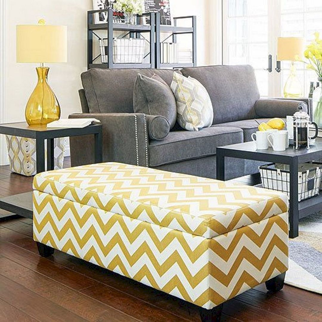 Apartment Ah Kent Storage Bench Ottoman In Muted Golden Yellow Chevron