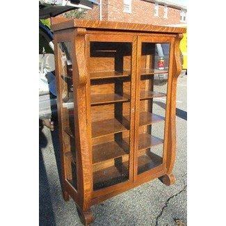 Beautiful Antique Victorian Oak Curio China Cabinet Bookcase Glass Doors