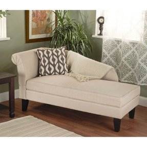 Beige microfiber storage chaise lounge chair daybed accent living room