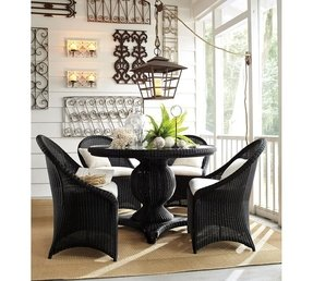 Black wicker dining chair