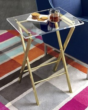 Brass end table glass top