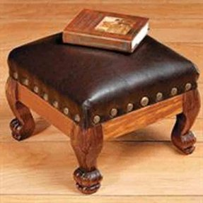 Brown faux leather footstool hassock ottoman decor new
