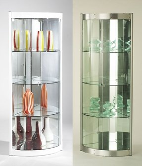 Chintaly imports corner curio cabinet with mirrored interior