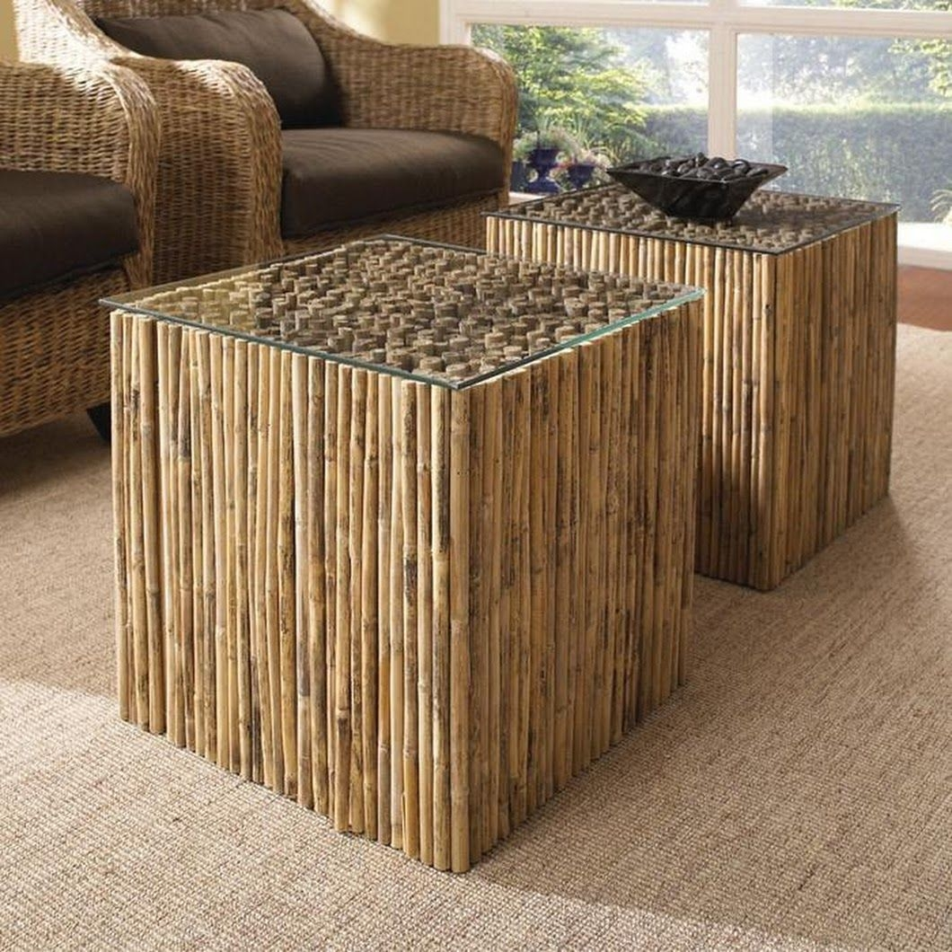 Coastal contemporary padmas plantation rio bamboo end table