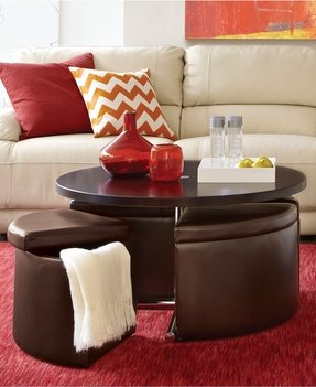 Coffee table with ottoman seating 3