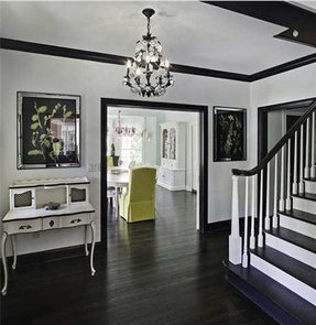 Dark wood floors white furniture