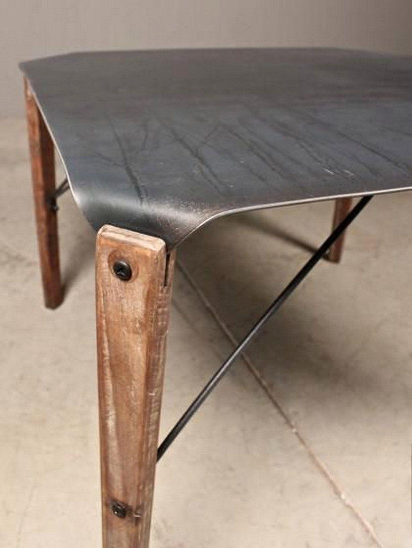 Dining Table Wood Top Metal Legs