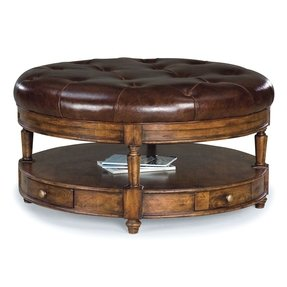 Fairfield chair tufted round leather cocktail ottoman in heirloom 8050