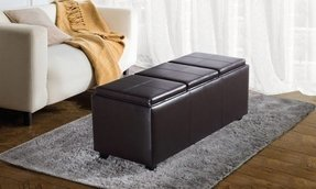Franklin large rectangular faux leather storage ottoman bench 5