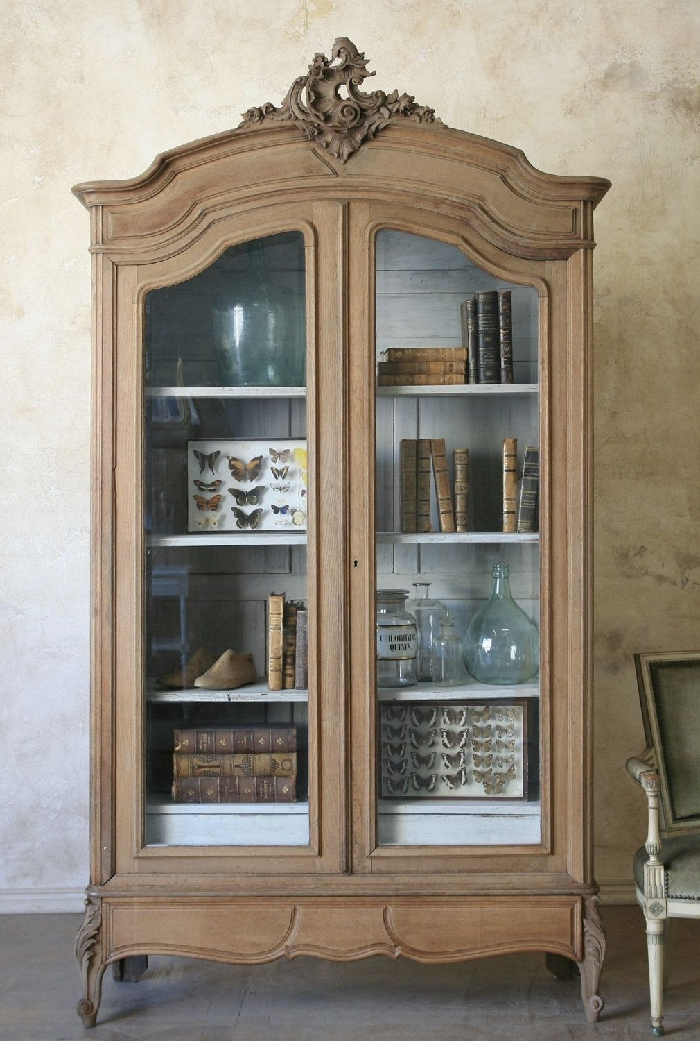 New VINTAGE WHITE French Louis Shabby Chic Glass Wall Display Cabinet Cupboard