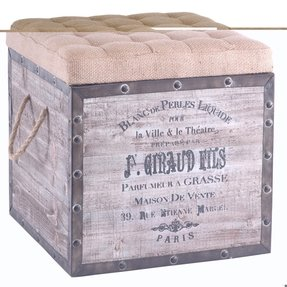 The French Style Of This Beautiful Country Ottoman Is A Perfect Combination An Attractive Base With Box And Burlap Tufted Seat Whole Extremely