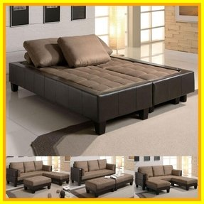 Fulton tan microfiber convertible sofa bed couch sleeper 2 ottoman