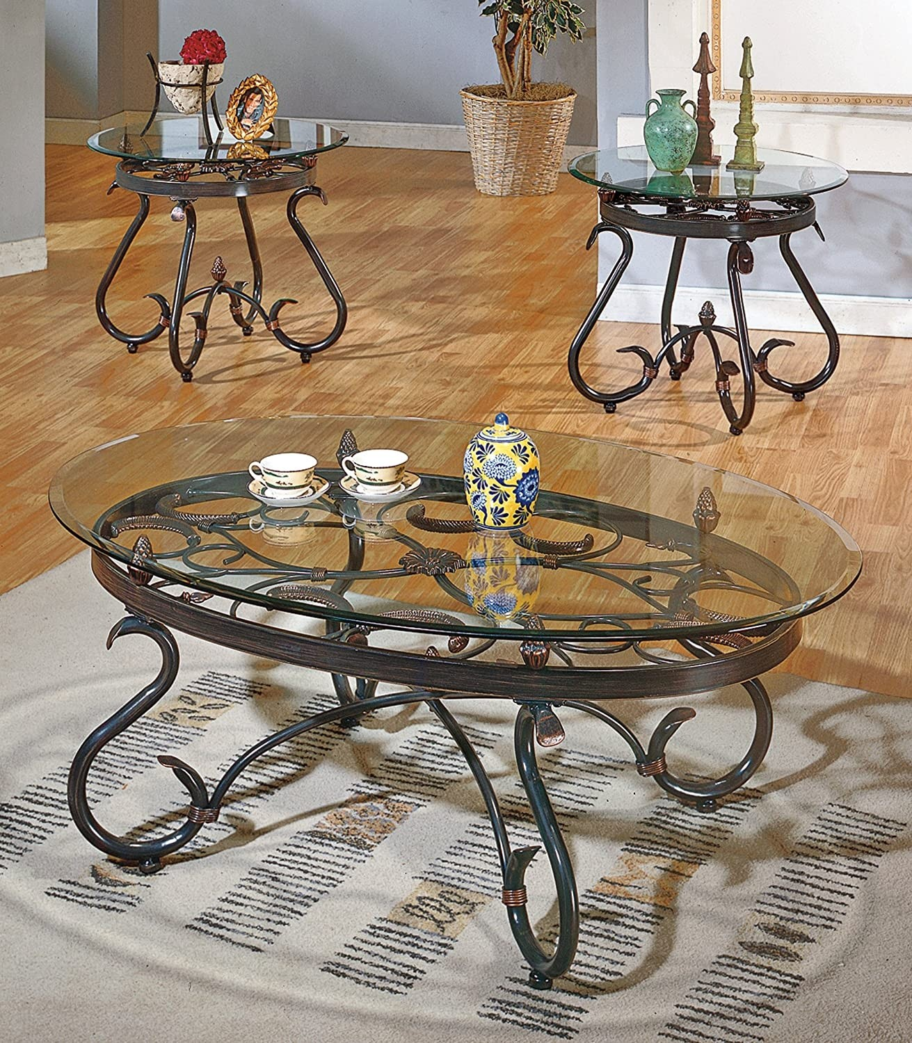 Attirant Glass Top End Tables Metal 1