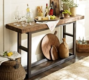 Griffin metal wood slab console table
