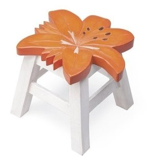 Hand-Carved Wooden Footstool, in Lily