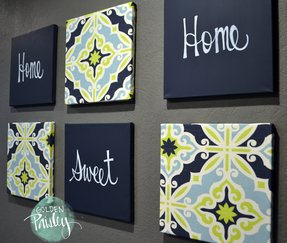 Home sweet home navy lime green wall art