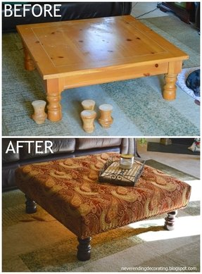 How to recover an ottoman without sewing