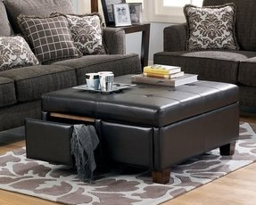 Large Leather Ottoman 1