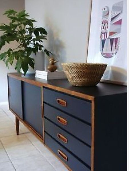 Large retro danish scandi style indigo charcoal sideboard tv cabinet