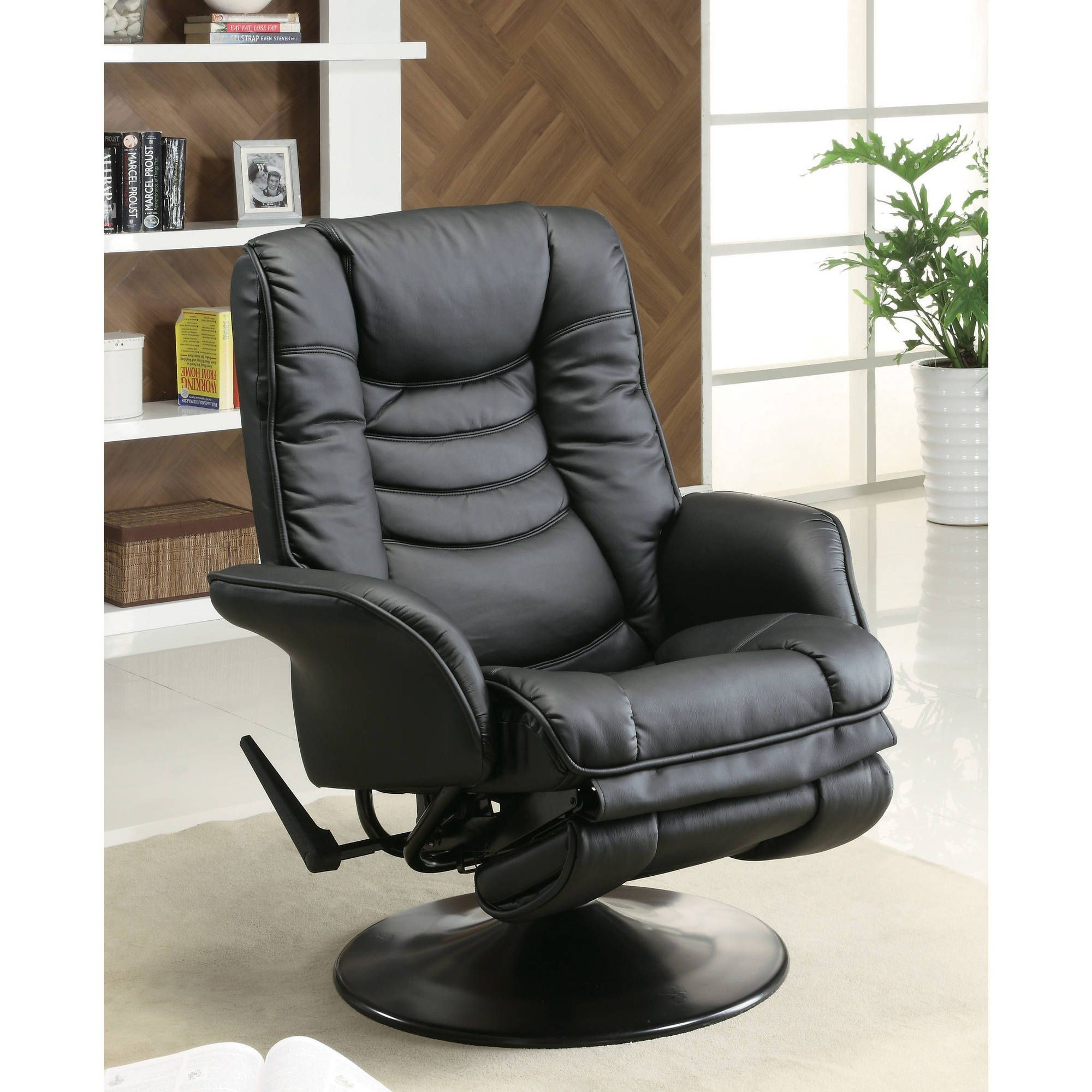 Leather Swivel Recliner Chair Reclining Black W Arms Footrest Lounge