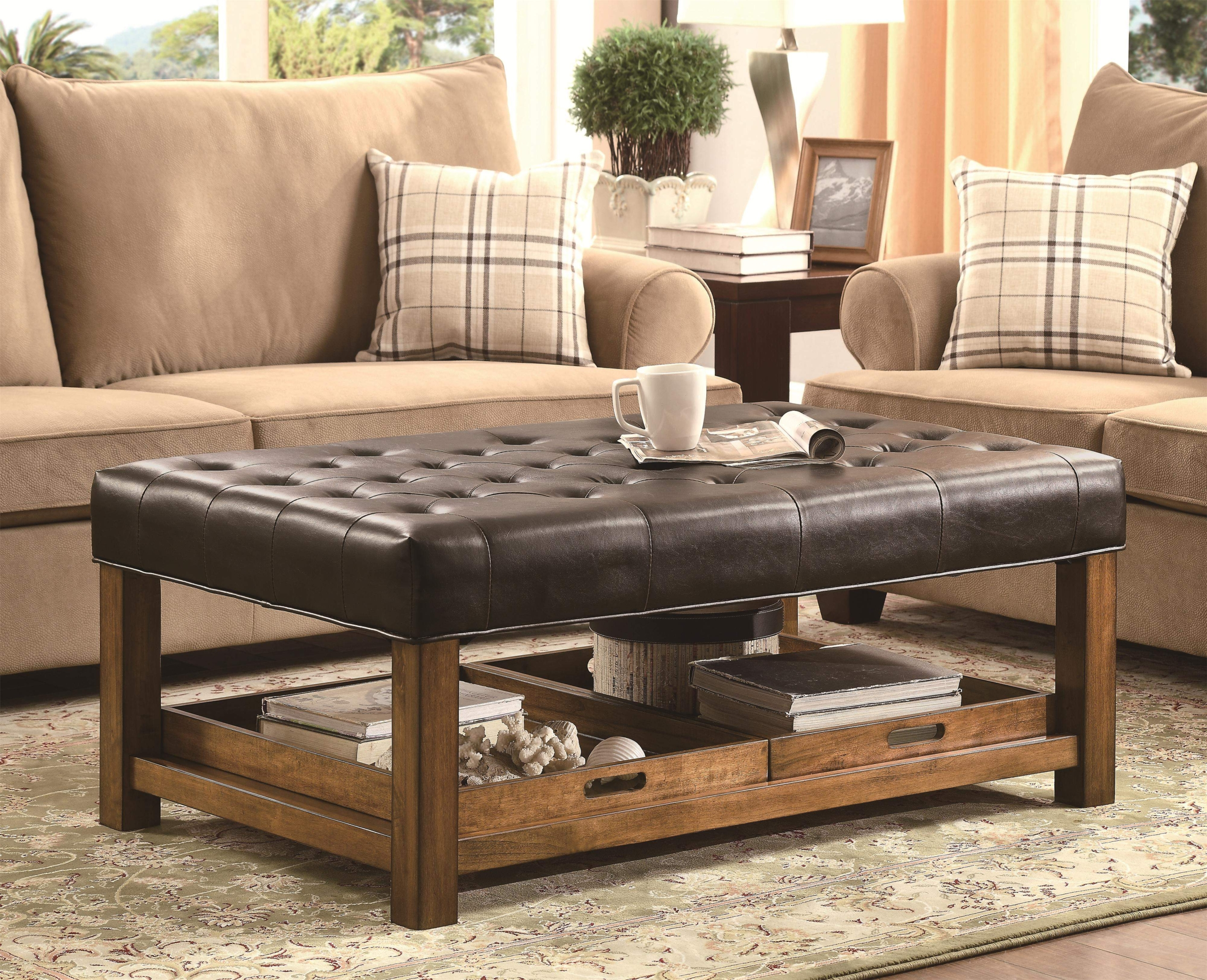 Attirant Leather Tufted Ottoman Coffee Table   Foter