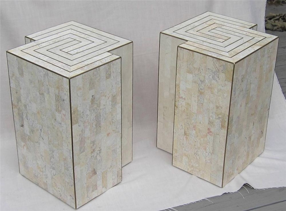 Mid Century Modern Tessellated Stone End Tables Maitland Smith Karl Springer Era