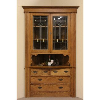 Oak antique corner cabinet leaded stained glass doors 1