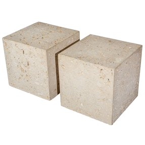 Pair of fossil stone end tables