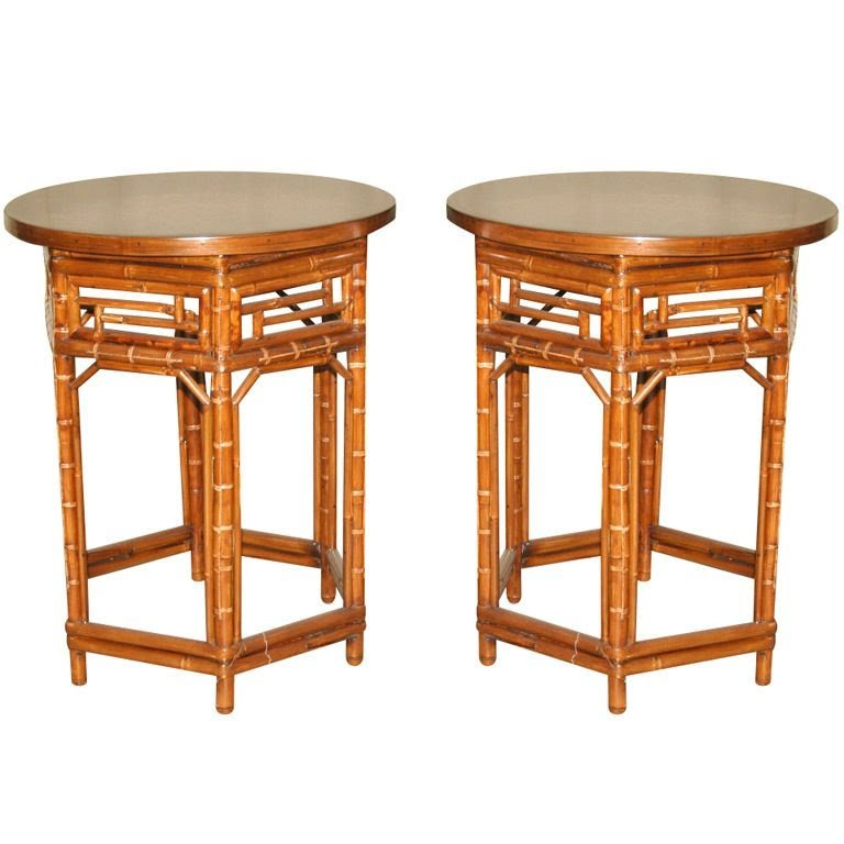 Pair of round bamboo end tables black lacquer tops