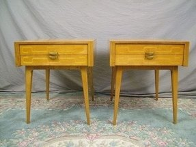 Pair scandanavian danish mid century modern end tables nightstands sweden