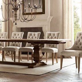 Rectangular pedestal dining table