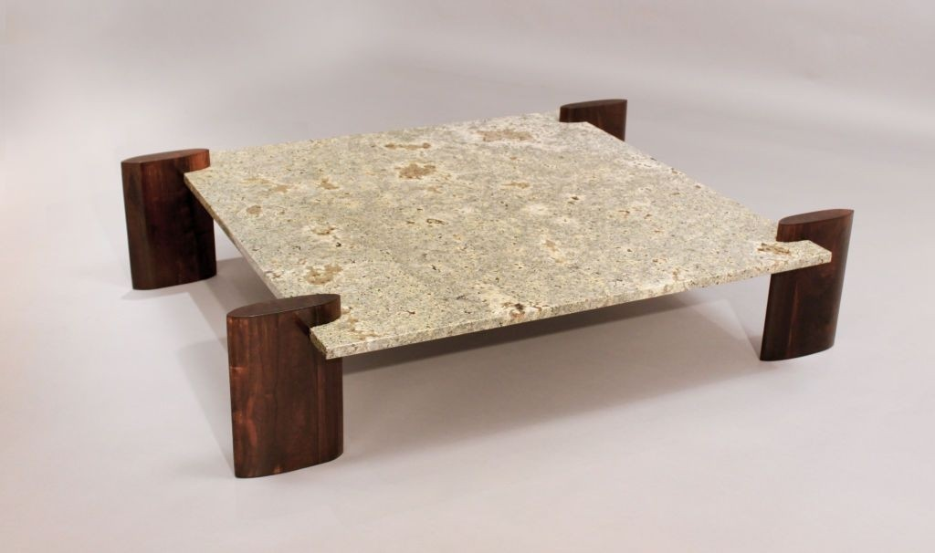 Genial Rosewood Pale Blue Granite Coffee Table Attributed To Celina
