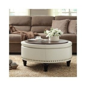 Round Bett Ottoman Bonded Leather Storage Sofa Couch Footstool Stool