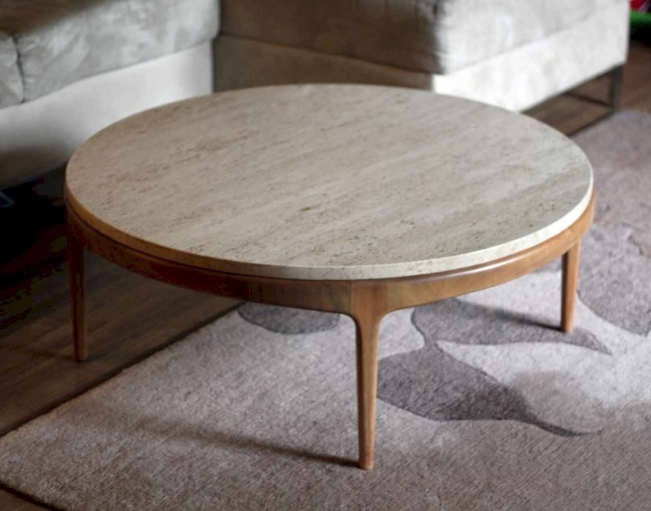Superbe Round Stone Top Coffee Table   Ideas On Foter