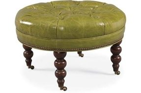 Round tufted leather ottoman 2