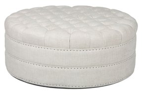Round tufted leather ottoman 3