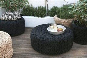 Round wicker footstool