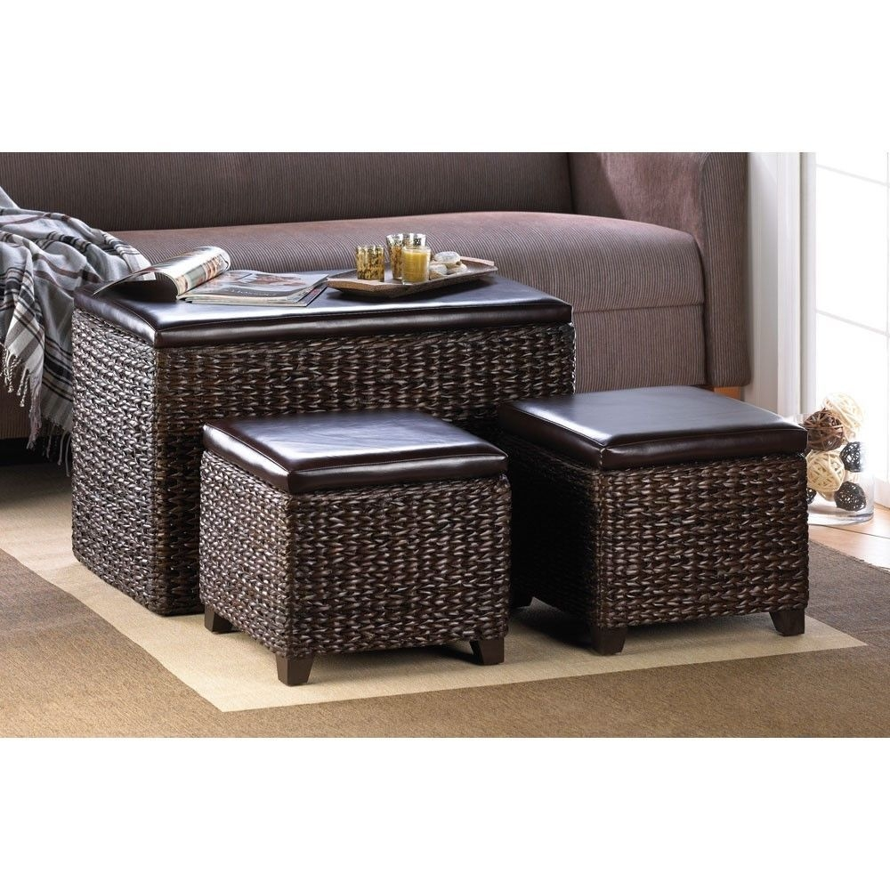 Rush Dark Brown Wicker Storage Ottoman Trunk Seats Set Of