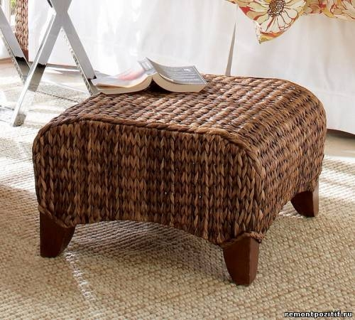 Furniture Large Square Ottoman Seat Stool with Padded Cushion Toy Storage Sea Grass Made