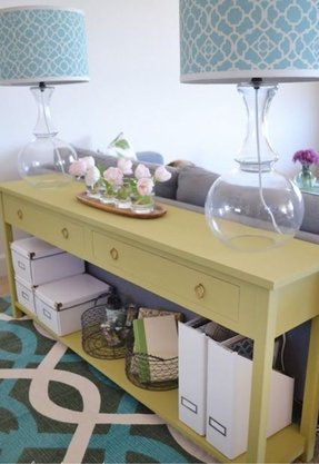 Sofa table with storage drawers